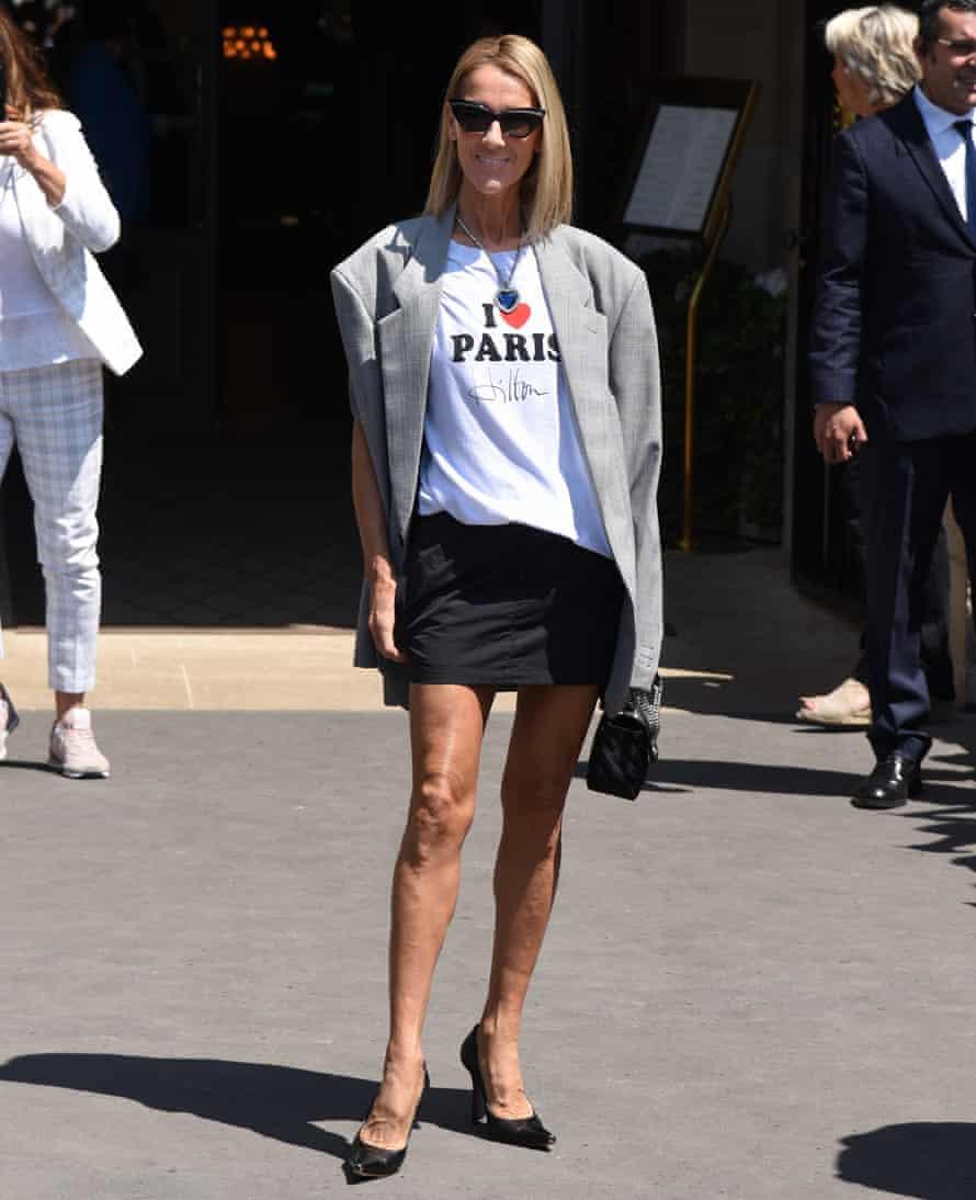 Dion in Paris, wearing a Vetements X Titanic look.
