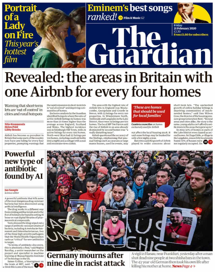 Guardian front page, Friday 21 February 2020