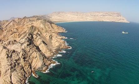 Blue Water Recoveries' expedition ship at Ghubbat ar Rahib bay, Oman.