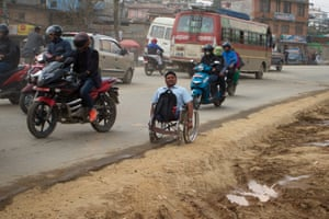 'There's too much dust. When I spit, it comes out black. There is no disabled access anywhere. Our leaders talk about disabled access, but there is no access even in Singha Durbar [a complex of government ministries],' says Govinda Khanal, a former teacher