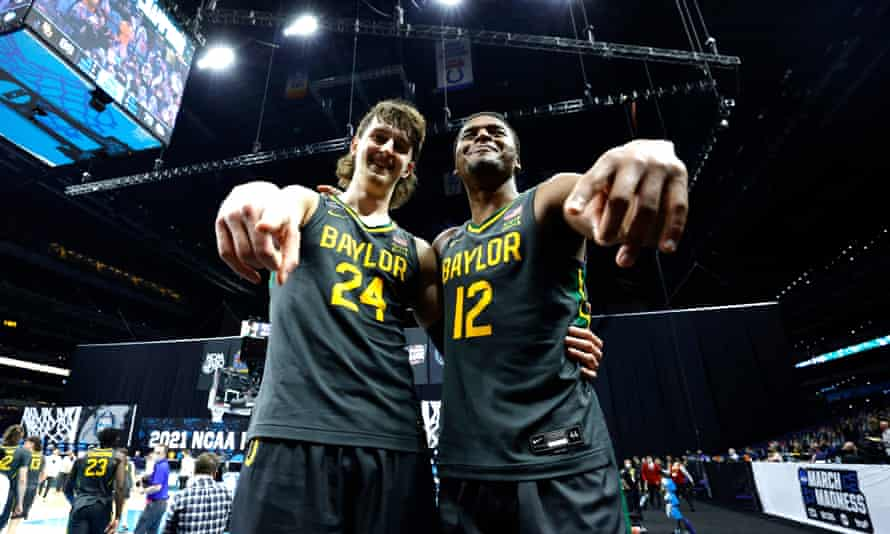 Matthew Mayer and Jared Butler celebrate Baylor's national title