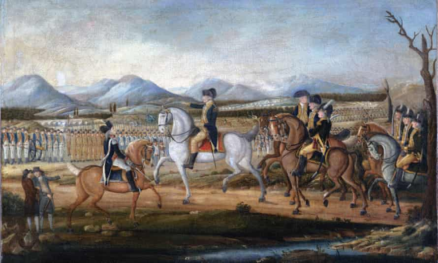The painting, c.1795, attributed to Frederick Kemmelmeyer, depicts George Washington and his troops before their march to suppress the Whiskey Rebellion in western Pennsylvania.