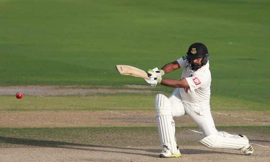 Ashar Zaidi strikes a boundary for Sussex during the County Championship match against Somerset.