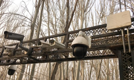 Security cameras installed at the entrance to a mosque in Kashgar, Xinjiang, China.