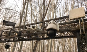 Security cameras at the entrance to a mosque in Kashgar, Xinjiang.