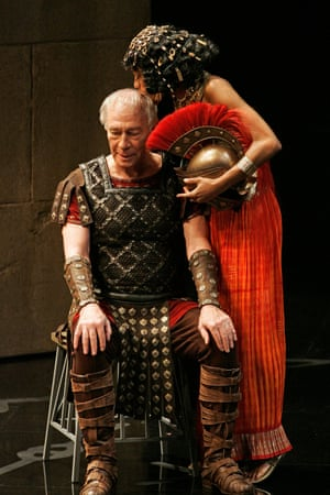 Christopher Plummer as Caesar and Nikki M. James as Cleopatra in Caesar and Cleopatra at the Stratford Shakespeare Festival in Stratford, Ontario on 31 July 2008