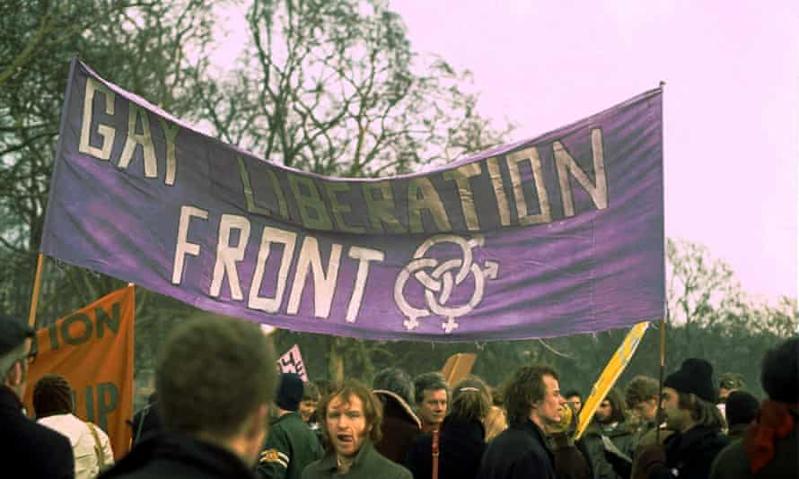 A Gay Liberation Front banner in 1971.
