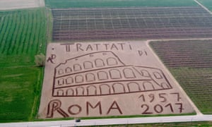 EU's 60th anniversary, Italy land artepa05866547 This aerial photo provided by Italian artist Dario Gambarin shows a giant tribute to the celebrations for the 60th Anniversary of the 1957 Treaty of Rome. A field of 27 thousand square metres in Castagnaro, near Verona, northern Italy, was plowed by the land artist to create a huge work of art depicting with the image of Rome's Colisseum, in Verona, Italy, 23 March 2017. EPA/DARIO GAMBARIN