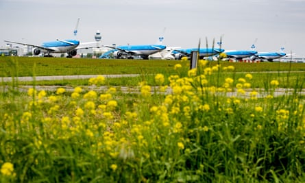 Grounded planes at Schiphol airport, the Netherlands.
