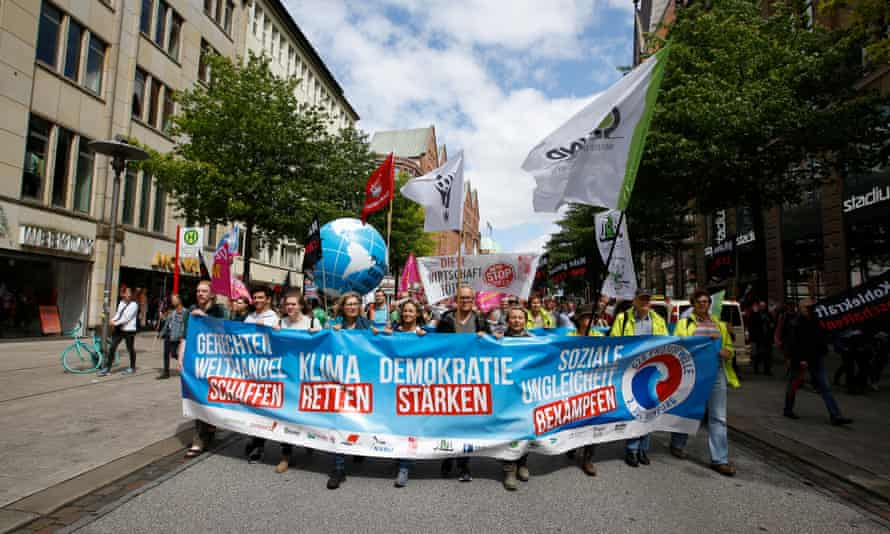 An anti-G20 protest march in Hamburg on Sunday