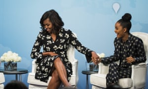 Friends in high places: Yara Shahidi and Michelle Obama promoting a girls' education programme in 2016.