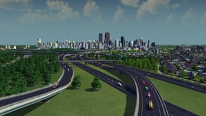 A view of Houston, by way of the highways leading into this car-crazy city. Cities: Skyline mayors can play around with a number of factors to improve the well-being of their population. For example, offering free public transport to citizens may reduce traffic problems in the game.