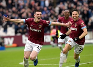 Nineteen-year-old Declan Rice celebrates scoring his first Premier League goal and the only one of the game, to seal the points for West Ham, beating Arsenal at The London Stadium. Rice became the 10th teenager to score a Premier League goal for West Ham, and the first since Junior Stanislas in November 2009.