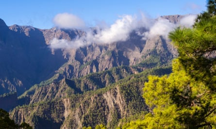 Clouds float in front of the Caldera de Taburiente mountains.
