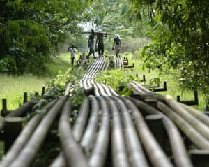 A 2006 image of Shell's pipelines in the Utorogun, one of the areas which has seen unrest over the years.