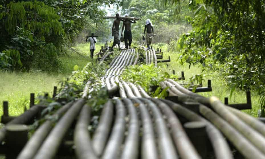 Shell oil pipelines in Utorogun, Nigeria.