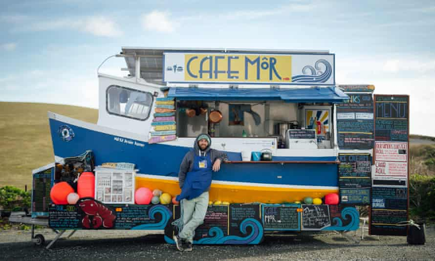 Jonathan Williams and his solar-powered converted boat-kitchen, Cafe Môr