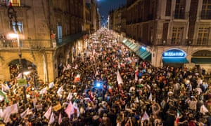 Huge numbers were out in the street to celebrate in Mexico City