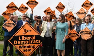 Lib Dem leader Jo Swinson (right) with Welsh Lib Dem leader Jane Dodds (centre) celebrating the party's victory in the Brecon and Radnorshire byelection.