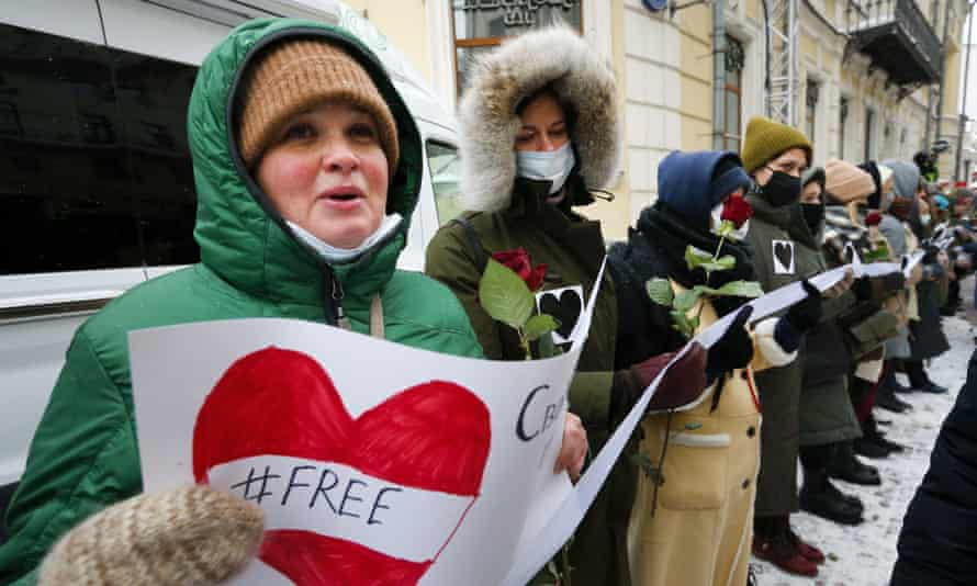 Women attend a rally in support of jailed opposition leader Alexei Navalny and his wife, Yulia Navalnaya, in Moscow, Russia.