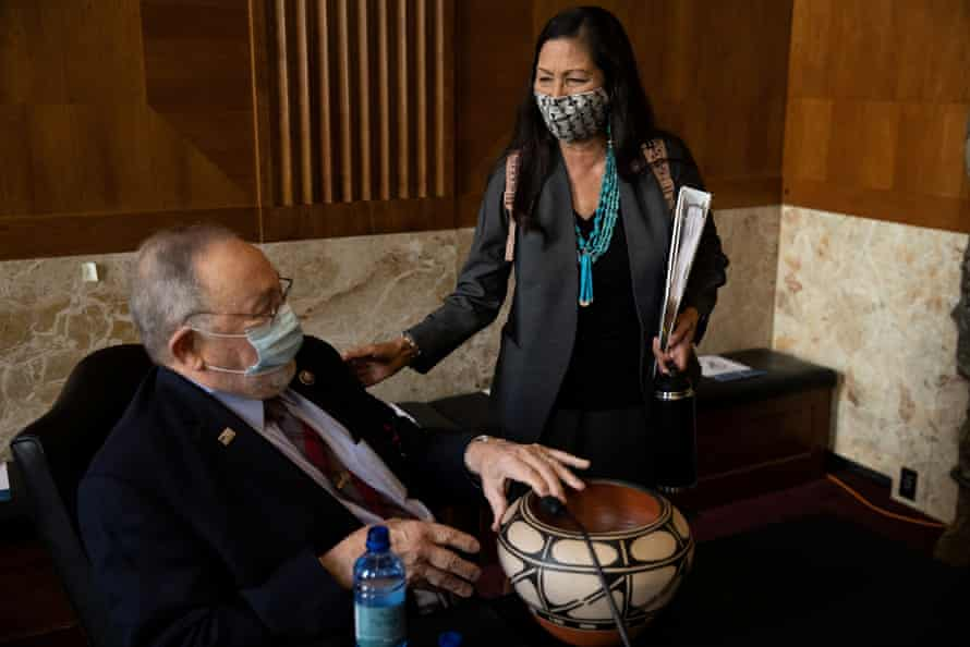 Haaland with Don Young of Alaska before the hearing.