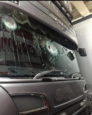 Damage to the windscreen of Mick Young's lorry