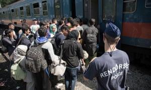 Refugees in Röszke