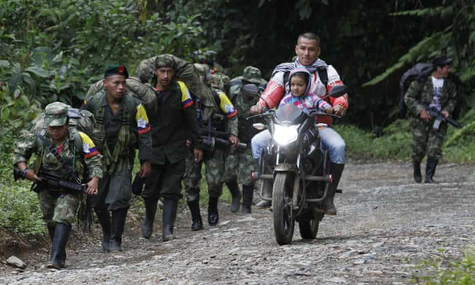 Members of the Farc make their journey towards a demobilization zone. At its height the group claimed as many as 20,000 members.