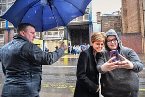 Glasgow, Scotland: The first minister, Nicola Sturgeon, poses for a selfie after her visit to Who Cares? Scotland to mark Care Day was cut short by a fire alarm. Care Day 2020, which celebrates 'care-experienced' children and young people, is a joint initiative between five children's charities in the UK and Ireland