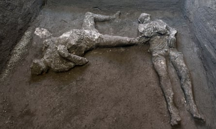 bodies of a master and his slave in situ at a villa on the outskirts of Pompeii