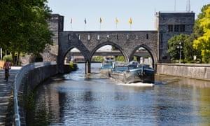 The 13th-century Pont des Trous in Tournai, Belgium