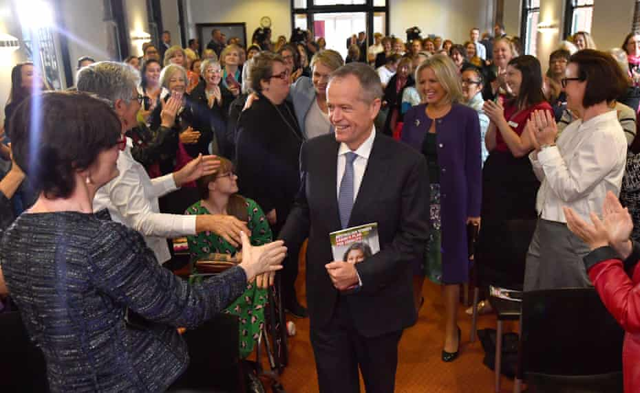 Bill Shorten arriving to launch Labor's policy to lift the equality of Australian women during a visit to the Queen Victoria Women's Centre in Melbourne.