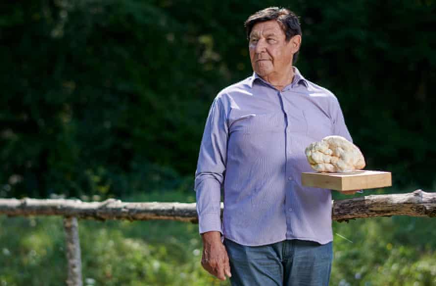 Giancarlo Zigante with a replica of the giant truffle he found, Livade, Croatia, 2021