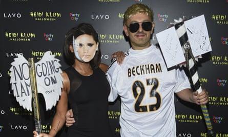 Mel B and boyfriend Gary Madatyan – dressed as Victoria and David Beckham – attend Heidi Klum's Halloween party in New York, 31 October 2018.