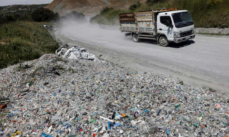 Plastic waste illegally dumped by a roadside is seen near Alibeykoy Dam in Istanbul.
