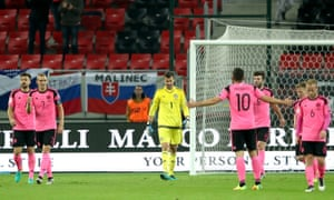 Scotland players walk away dejected after Slovakia's Robert Mak scores his side's second goal of the game.