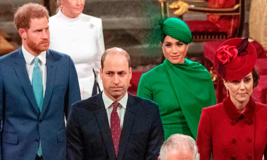 Harry, William, Meghan and Kate depart Westminster Abbey after attending the annual Commonwealth Day service