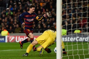 Lionel Messi scores Barcelona's fifth.