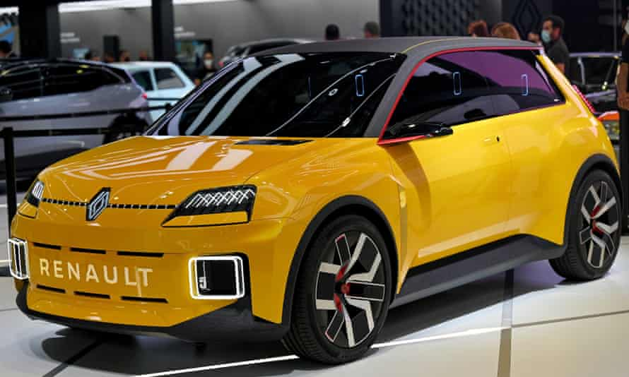 The all-electric Renault 5 on display at the Munich motor show.