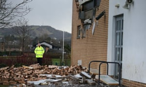 The scene at Oxgangs primary school in Edinburgh after a wall collapsed.