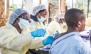 A health worker administers the Ebola vaccination in Butembo, Democratic Republic of the Congo.