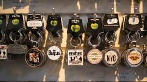 Beatles keychains and other memorabilia and merchandise are for sale in a shop in Liverpool