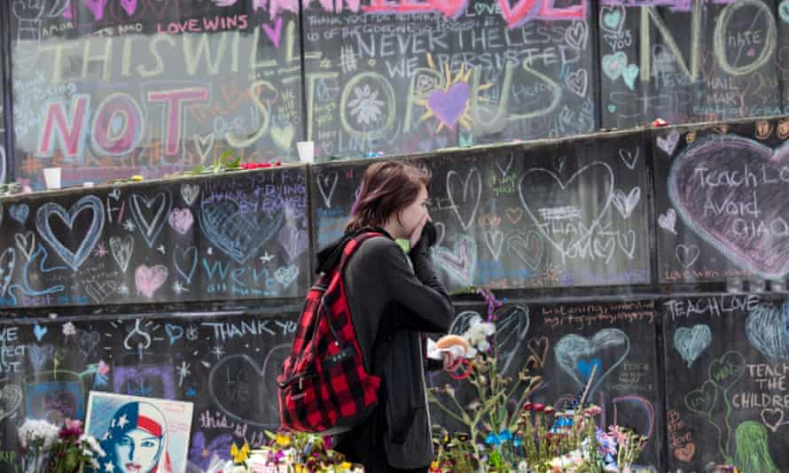 A memorial in Portland, Oregon, to commemorate the recent killing of two men on a train as they tried to protect women from racial abuse.