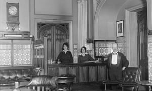 A Platt, Mrs Champ and Miss Gilbert at work in the House of Commons terrace smoking room, November 1919.