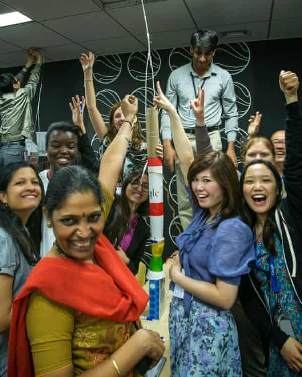 Google employees - Googlers - participating in a team-building exercise.