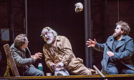 Mockery or madness … Jacques Imbrailo (Horatio), John Tomlinson (Gravedigger) and Allan Clayton (Hamlet).