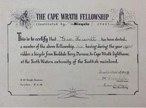 Cape Wrath Certificate National Cycle Archive,  Warwick