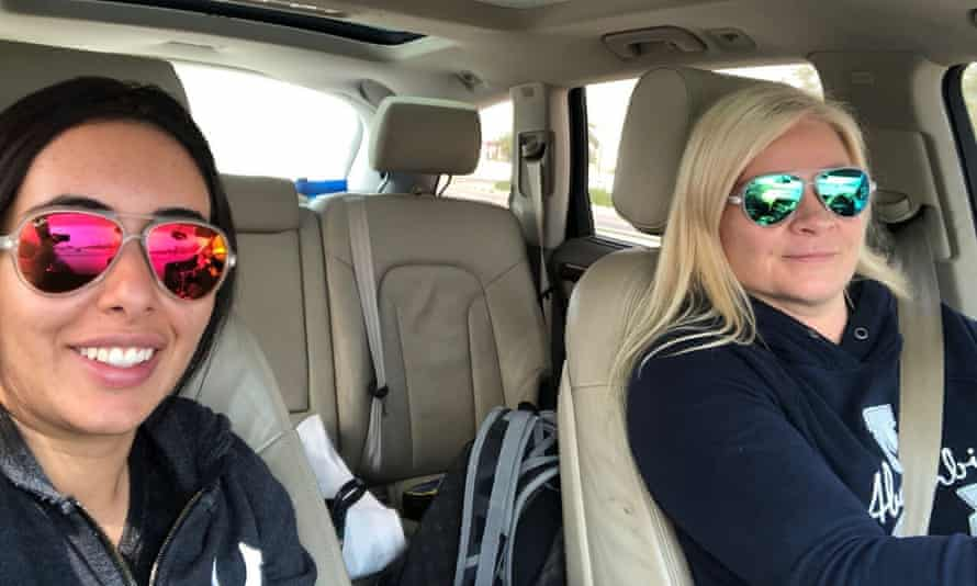 Princess Latifa and her best friend Tiina Jauhiainen in a selfie on the road to Oman on the first leg of their journey in 2018.