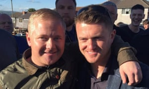 Jake Hepple left, pictured with the former English Defence League leader Tommy Robinson