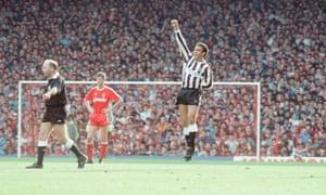 Mirandinha scores against Liverpool in 1988.
